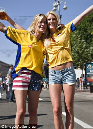 Swedish female fans should be more attractive than most, pictured here in Kiev last week